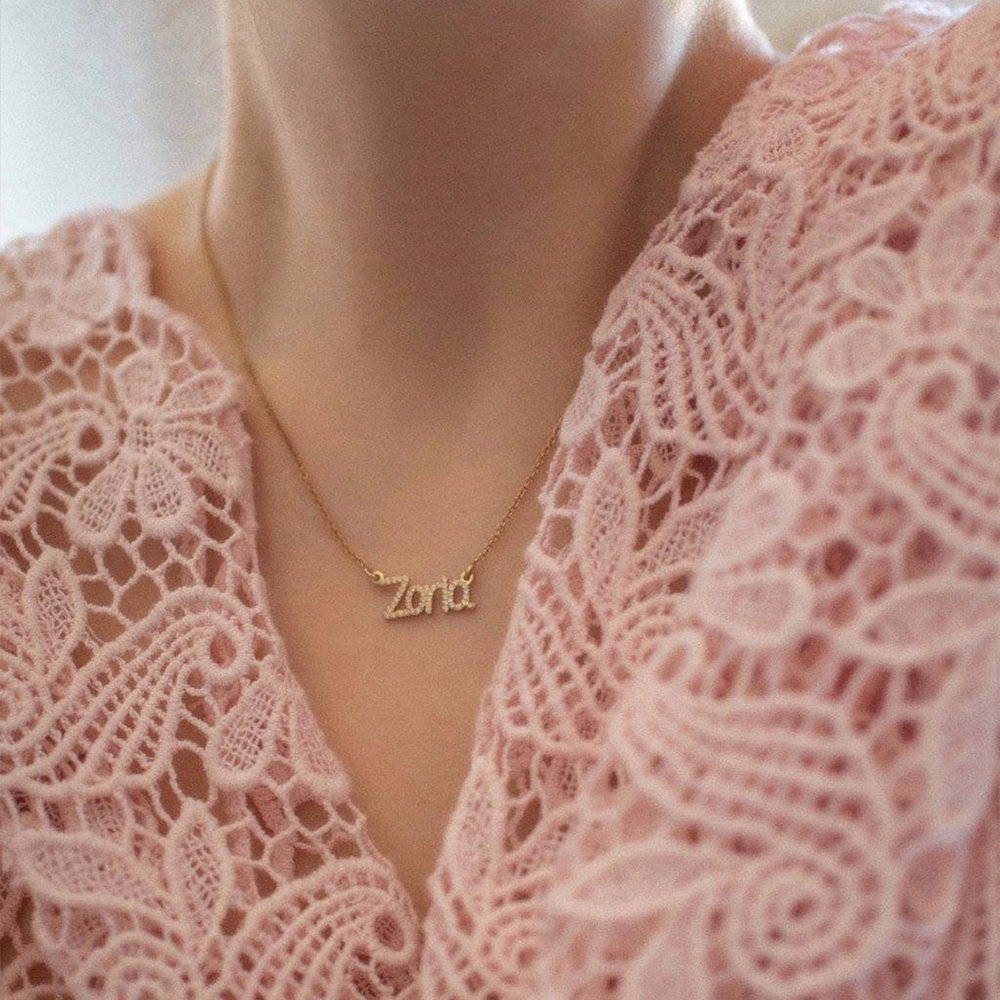 Pixie Name Necklace with Cubic Zirconia, Gold Plated - 2