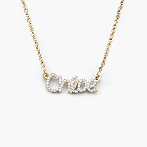 Pixie Name Necklace with Cubic Zirconia, Gold Plated