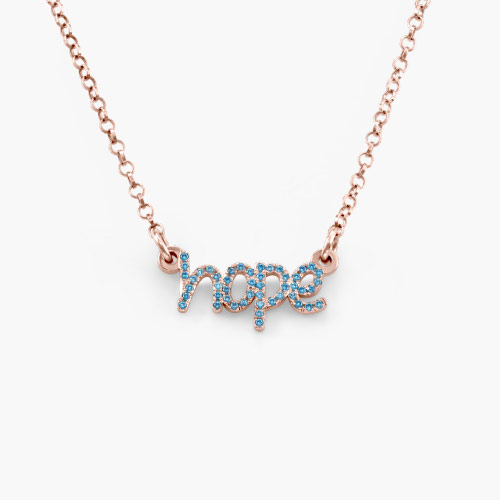 Pixie Name Necklace with Cubic Zirconia, Rose Gold Plated