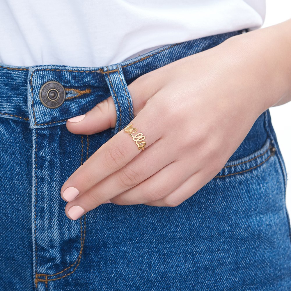 Pixie Name Ring, Gold Plated - 2