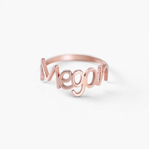 Pixie Name Ring, Rose Gold Plated