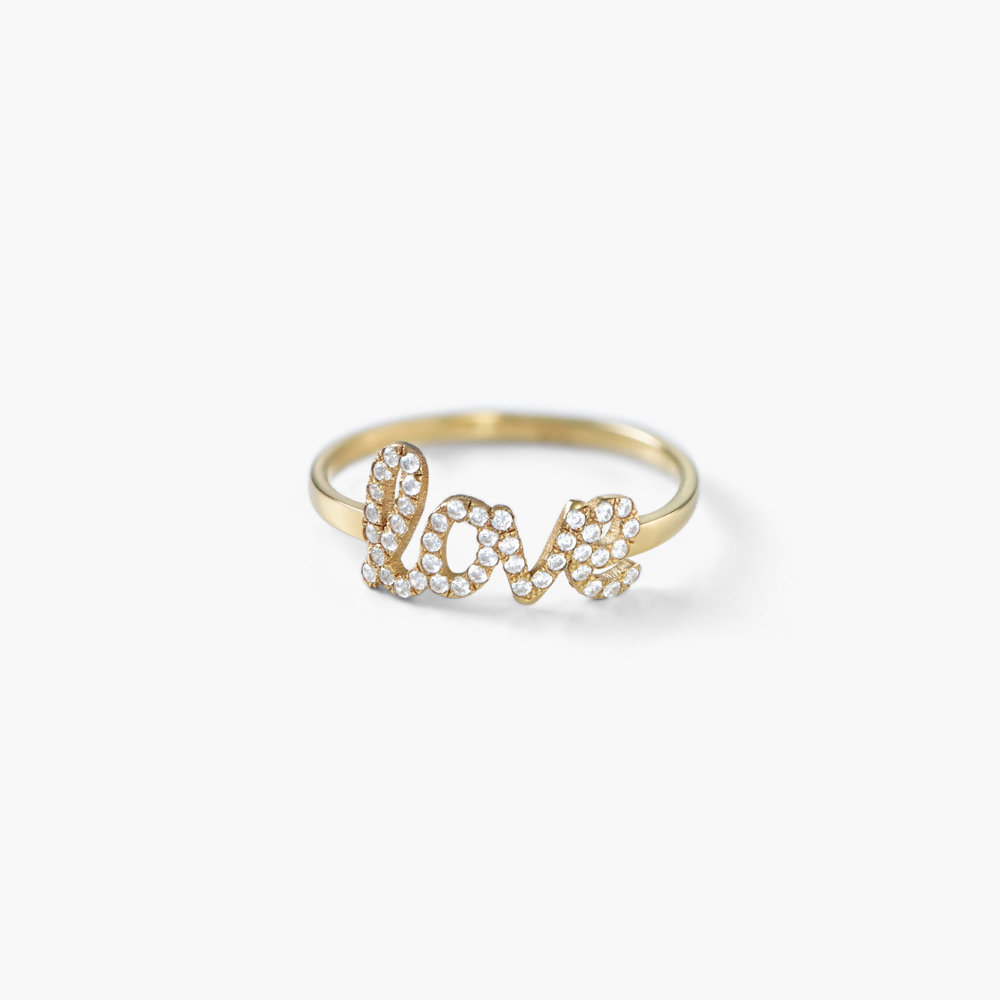 Pixie Name Ring with Cubic Zirconia, Gold Plated