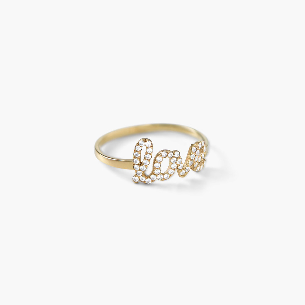 Pixie Name Ring with Cubic Zirconia, Gold Plated - 1