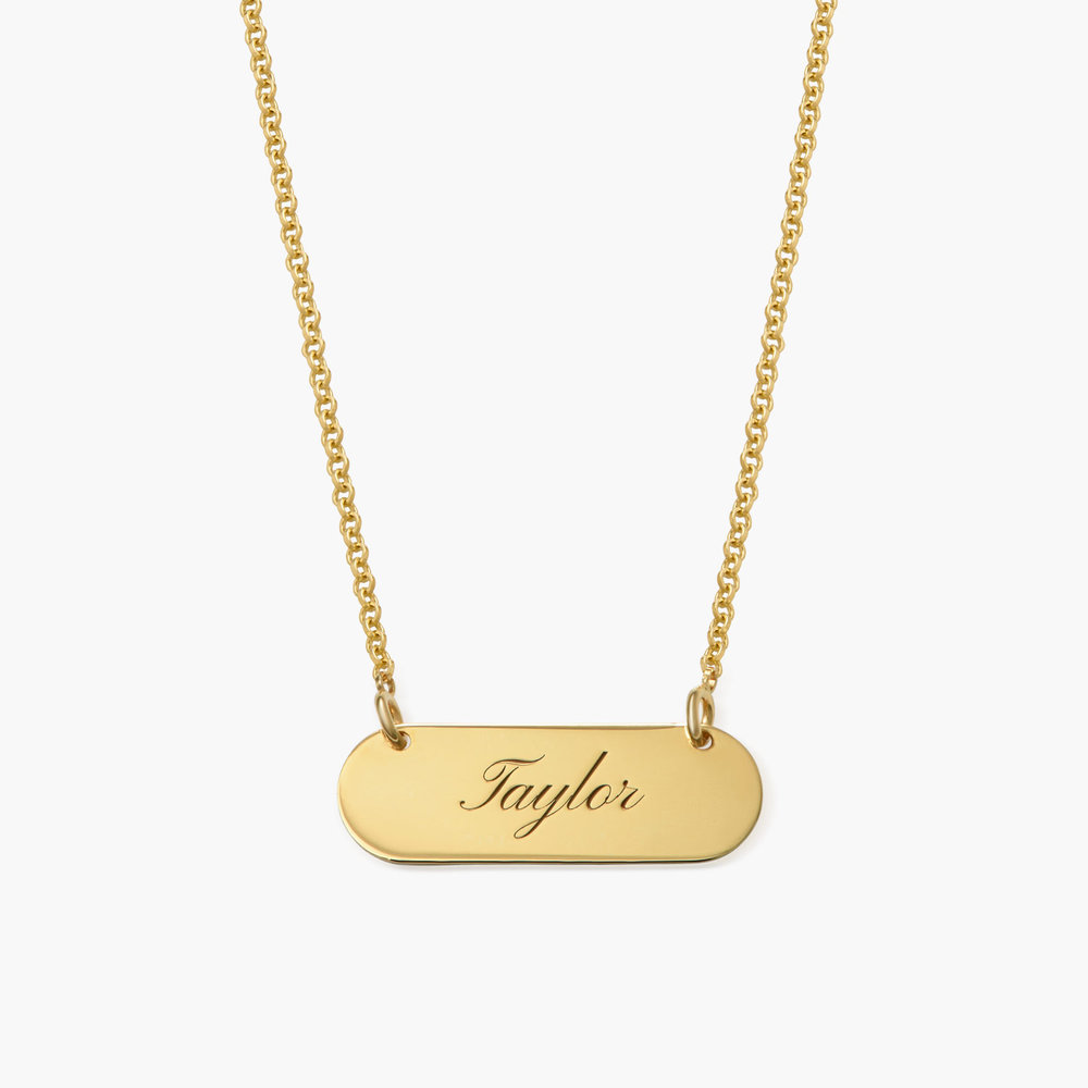 Rounded  Bar Necklace, Gold Plated