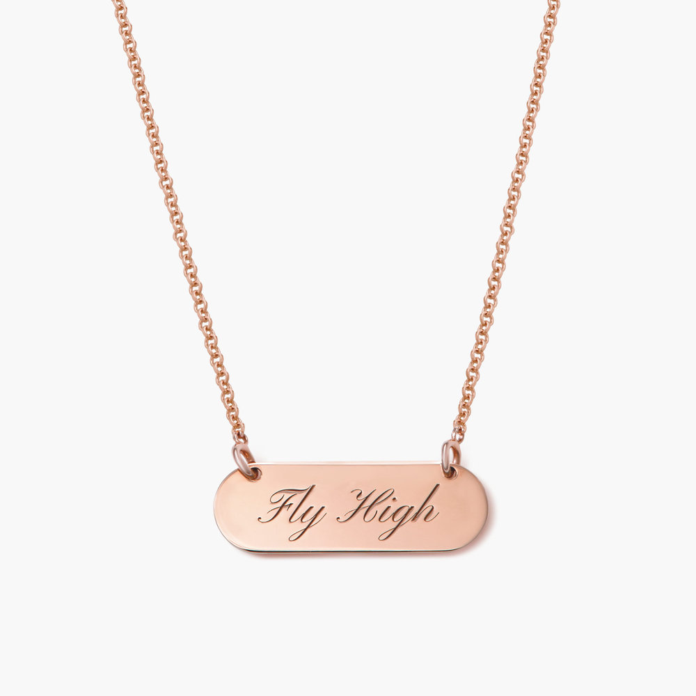 Rounded  Bar Necklace, Rose Gold Plated