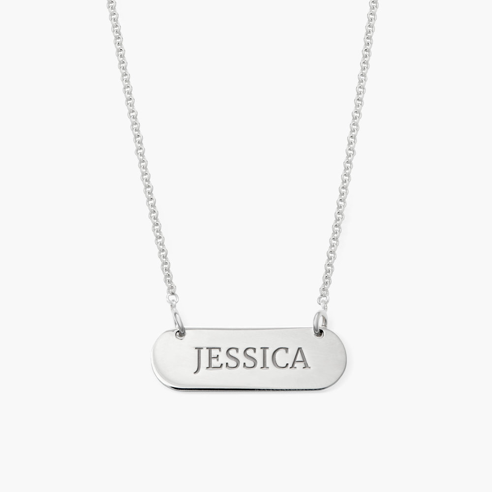 Rounded  Bar Necklace, Silver
