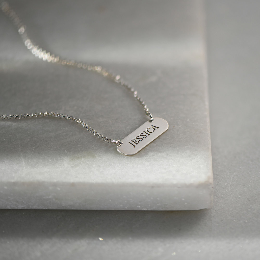 Rounded  Bar Necklace, Silver - 1