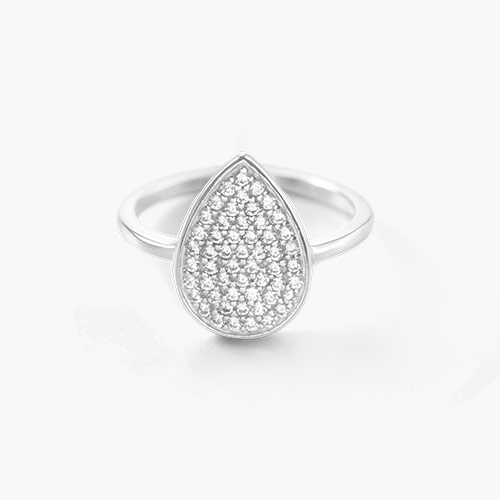 Stardust Teardrop Ring, Silver