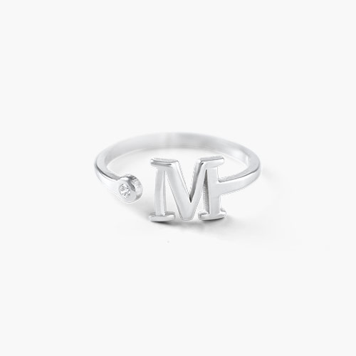 Tiny Initial Ring, Silver