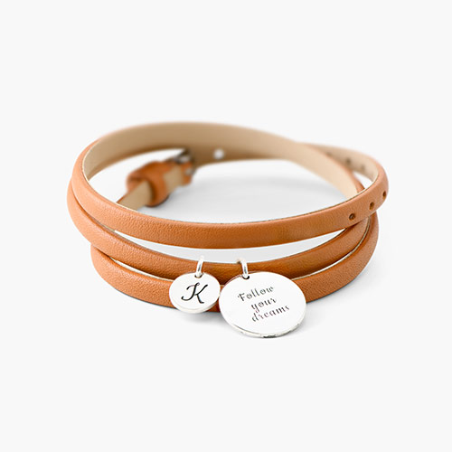 Wrap Around Leather Bracelet - Silver