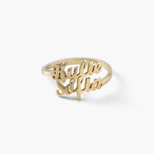 Two is Better Than One Name Ring - Gold Plated