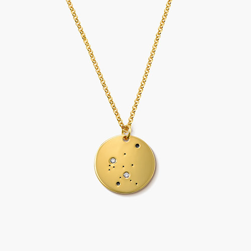 Aquarius Zodiac Necklace with Diamonds, Gold Plated