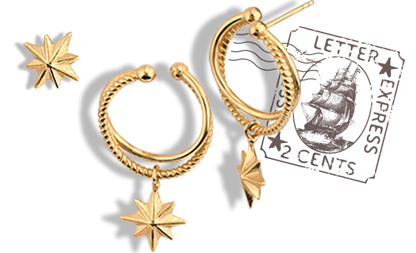 North Star Hoop Earrings - Gold Plated