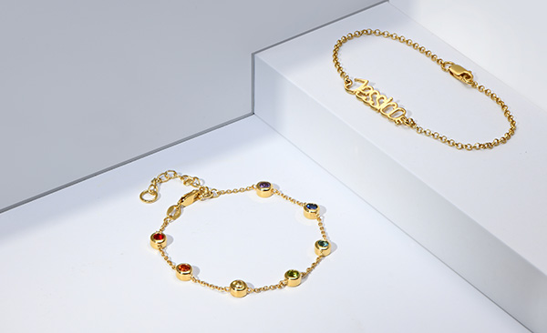 Rainbow bracelet - gold plated