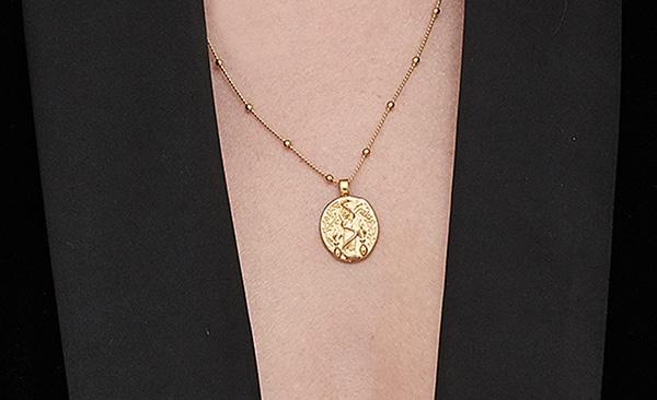 goddess of healing greek coin necklace