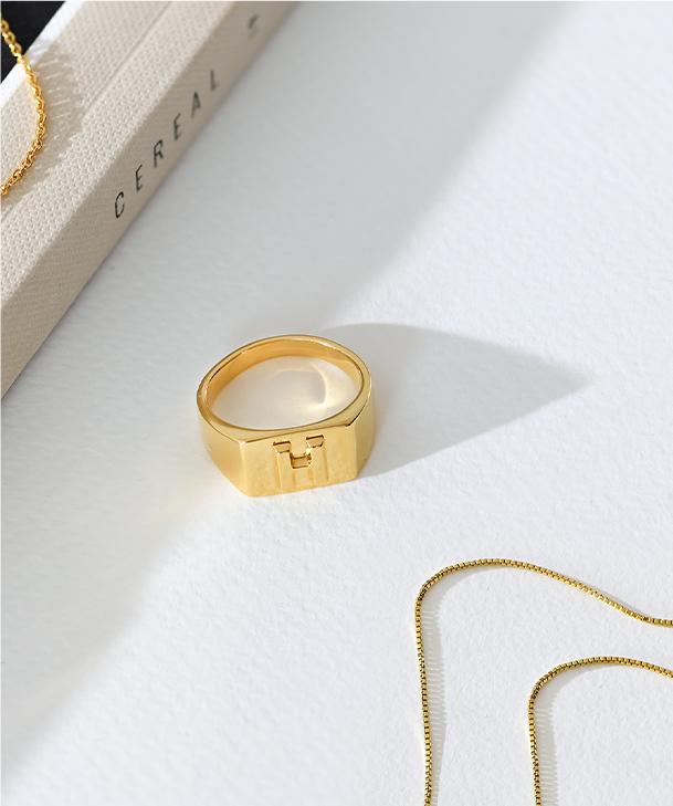 Ayla Square Initial Signet Ring