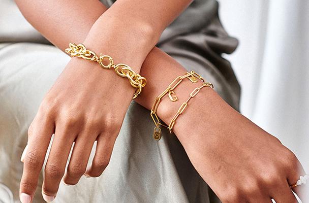 haislely link bracelet gold plating