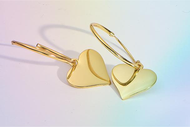Hoops with Heart Charm Earrings