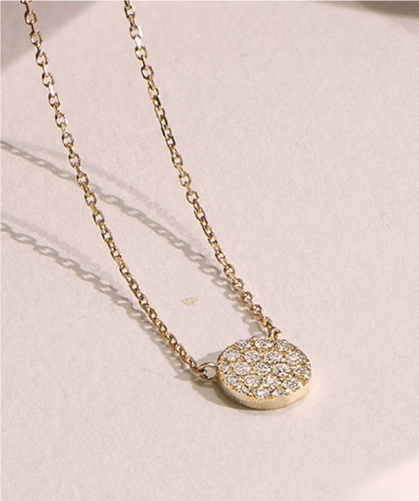 Pave Necklace in Gold Plating