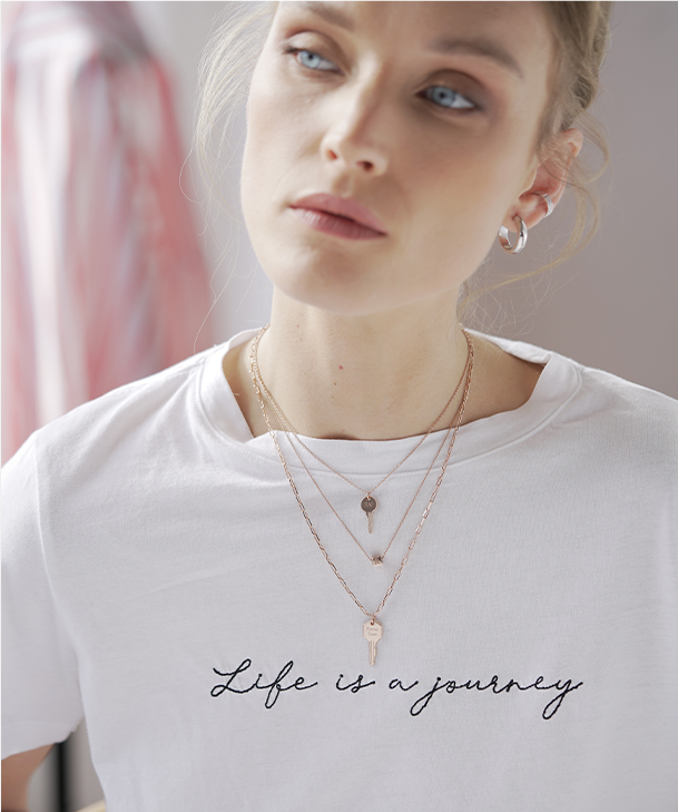 key link chain necklace- rose gold plating