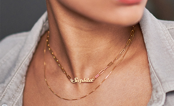 Link Chain Name Necklace - Gold Plated