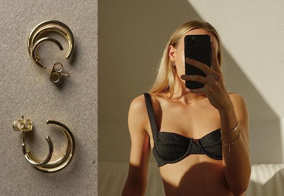 Tango Triple Hoop Earrings in Gold Plating